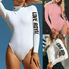 Women Long Sleeve High Neck Stretch Casual Bodysuit Blouse Leotard Tops T-shirts