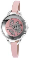 Women's Quartz Watch Pink Silver Analogue Butterfly Leather W-60463610901500