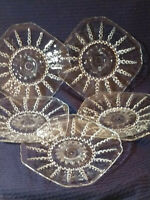 """(5) GLASS FEDERAL GLASS COLUMBIA CRYSTAL LUNCHEON SIZE PLATES-6"""""""