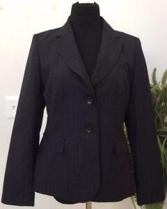 New Ann Taylor Women Navy Blue Stripe Polyester Blend Blazer Jacket Sz 12P  $129