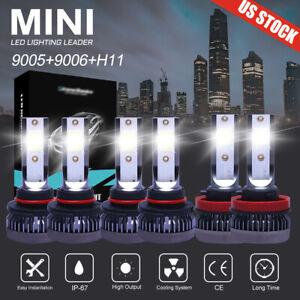 9005 9006 H11 LED Combo Headlight Fog Light Kit High Low Beam Bulb White 6000K