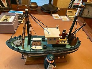 Vintage Wooden Model Boat & Captain 9 in. Long x 3 1/2 inches Wide-V. Good Cond.