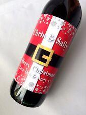 PERSONALISED CHRISTMAS SANTA BELT WINE, CHAMPAGNE, BEER BOTTLE LABEL