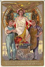 """Service Shall With Steeled Sinews Toil..."" Labor Day Souvenir Postcard 1910"