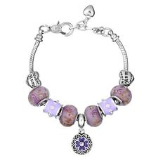 NEW Silver Purple Flower MOM Heart Murano Beads Charm Bracelet Masino Collection