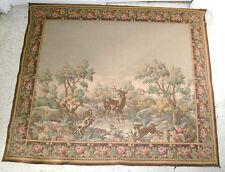 tenture/tapisserie murale scène de chasse/chiens/cerfs/époque XXè/142 x 125 cm