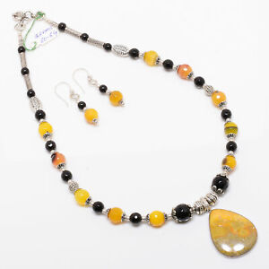 Bumble Bee Jasper Gems 925 Sterling Silver Nacklace Earring Set 1.77 Inch