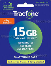 Tracfone 1 Year Service Plan Smartphone 1500 Minutes+Texts 1.5GB DATA fast email
