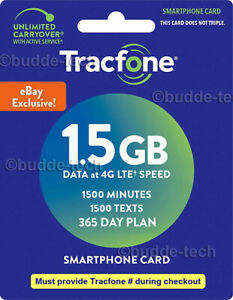 Tracfone 1 Year Service Plan - Smartphone 1500 Minutes, 1500 Texts 1.5 GB DATA