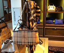Burberry NWT Large Clara Convertible Wristlet/ Chocolate Clutch with Chain