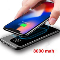 LCD 8000mAh QI Wireless Charger 2A Dual USB Power Bank For iPhone X 8 Samsung S9