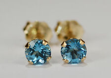 AMAZING GENUINE MINED SWISS BLUE TOPAZ EARRINGS~14 KT YELLOW GOLD~4MM