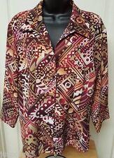 Elementz Woman's Brown/Burgundy/Black Design Layer LOOK Button Down Shirt Sz XL