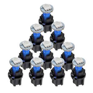 10Pcs T5 Blue Car Instrument Panel Cluster LED Dash Light Bulb W/ Twist Socket