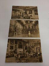3 Vintage Postcards Windsor Castle Inside Rooms Black & White