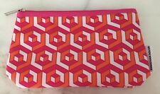 Clinique Jonathan Adler Cosmetic Makeup Bag Pink Orange White Graphic