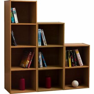Oxford Bookcase 2 3 4 Tier Cube Shelf Wood Storage Photo Display Furniture Oak