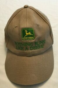 John Deere Hat Beige Tan Front Logo Adjustable Rear Adult Men Nothing Runs Like