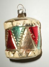 Vintage Antique Patriotic Glass Drum Christmas Tree Ornament -Red White Blue