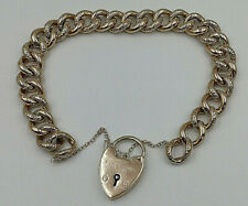 Vintage  9ct Rose Gold Ladies Semi Hollow Charm Bracelet. Goldmine Jewellers.