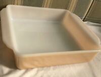 """8.5"""" x 8.5"""" square Fire-King #452 8in. Peach luster casserole cake baking dish"""