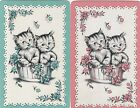 %Vintage Swap / Playing Cards - 2 SINGLE - CATS - IN A TUB
