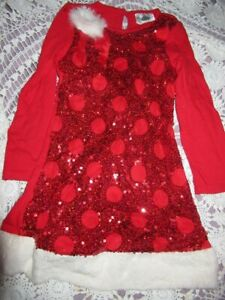 nwot Rare Editions red sequin faux fur trim Christmas dress girls 6 free ship US
