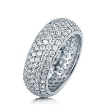 Sterling Silver .925 Women's CZ Round Pave Eternity Wedding Band Ring Size 4-10