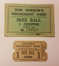2 Hanson's Amusement Park Skee Ball Game Coupons Harveys Lake PA