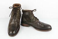 Bottines Boots à Lacets Cuir Fleuri Brun et Tweed Doublé Cuir T 41 TTBE