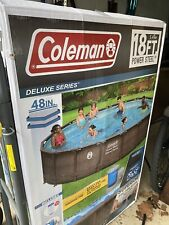 Coleman 18ft x 48in Power Steel Deluxe - Above Ground Swimming Pool - Ships Fast