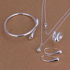 mujeres baño 925 plata pulsera Pendientes collar anillo Conjunto  encanto