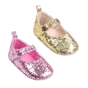 Newborn Baby Girl Kids Glitter Crib Shoes Prewalker Anti-slip Soft Sole Sneakers