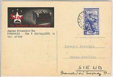 CARTOLINA d'Epoca - FIRENZE  - pubblicitaria STAR Batteria macchine 1953