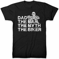 Dad The Man Myth Biker T Shirt Motorcycle Top Tee Fathers Day Gift Idea Bike Son