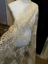 "20"" new gold BRIDAL SCALLOPED LACE EMBRIOUDED SEQUIN FABRIC 58"" WIDE"