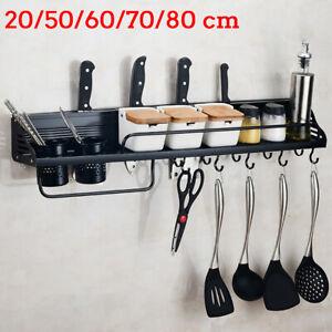 Kitchen Aluminum Organization Rack Wall Mount Tool Cookware Holder Shelf Hanger