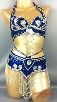 Belly Dance Costume Set Bra&Belt Top&scarf Golden Blue Red Purple S/M/L New