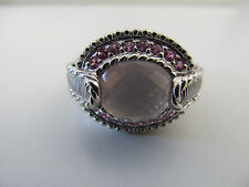 Judith Ripka  925 Sterling Silver  Rose Quartz Pink Sapphire Ring Size 8 3/4