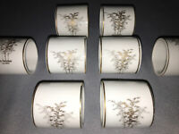 8 Vintage Fukagawa Arita Bamboo Napkin Ring Hand painted Japan Gold White