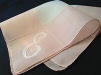 """#4246🌟Vintage 40s Monogram """"E"""" COUNTRY CLUB Pink Appliqué Wedding Handkerchief"""