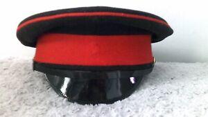 British Army - Black/Red Hat Cap Peaked Dress Military Uniform