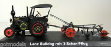 Schuco 1/43 Scale 02626 Lanz Bulldog with roof and Plough diecast model tractor