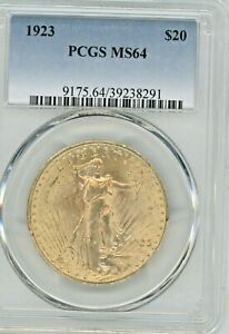 1923 GOLD DOUBLE EAGLE,  GRADED MS64 BY PCGS  $20 GOLD COIN,  SAINT-GAUDENS