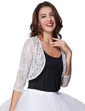 Women Lace Dress Shrug Bolero Jacket Cardigan Blouse Top Xmas Evening Party Xmas