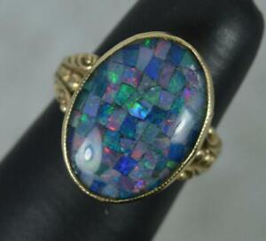 Beautiful Mosaic Opal Triplet and 9ct Gold Ladies Solitaire Ring