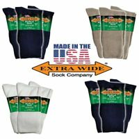 Extra Wide Socks 3-Pack Medical Diabetic Microban Crew Big Men's Made in USA
