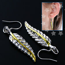 Plated Earrings Hook Drop 925 Sterling Antique Feather Dangle 38mm Height