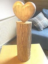 Deko-Stele,Holz-Scheit Eiche,Herz Fichte, komplett masiv, Handarbeit, Höhe 65 cm