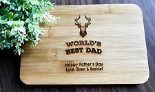 Father's Day Gifts - Personalized Engraved Mini Bamboo Serving or Chopping Board